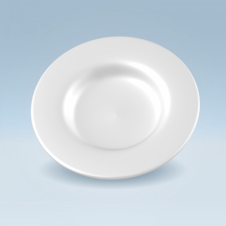 reflects: White china clean dinner plate hanging over light background concept illustration