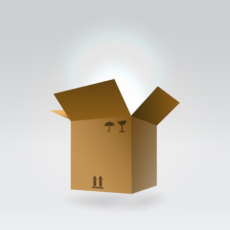 Flying package box glowing fom inside- magic gift concept photo