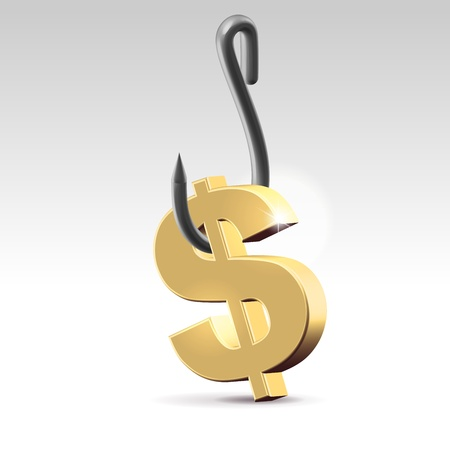 Silver dollar symbol hanging on a stainless steel hook closeup 3d render