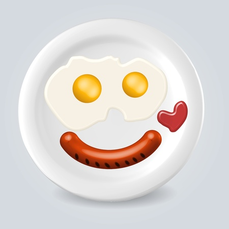 mealtime: Tasty breakfast food plate smile illustration conspect