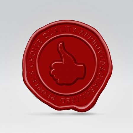 Glossy red sealing stamp round seal with thumb up and quality guarantee inscription hanging in the air Stock Photo