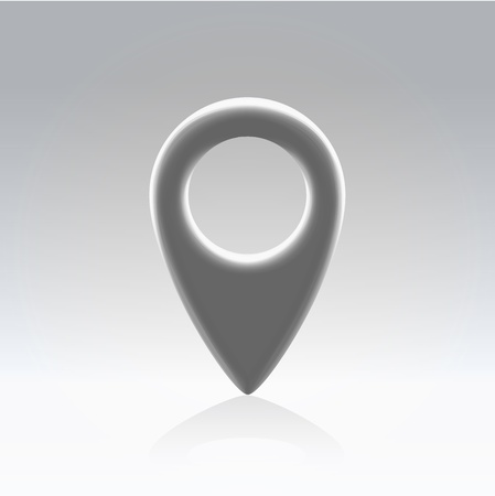 poi: Glossy gray plastic map navigation point backlit hanging in light space