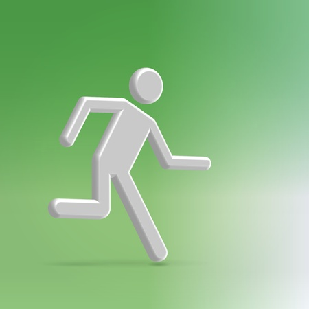 Silver metallic abstract man icon running to light exit  illustration concept Stock Illustration - 20509889