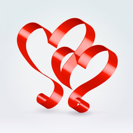 Couple hearts made of silk glossy ribbon