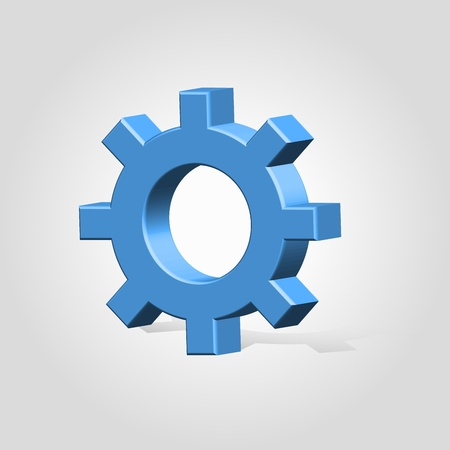 Glossy plastic blue settings mechanical gear wheel icon