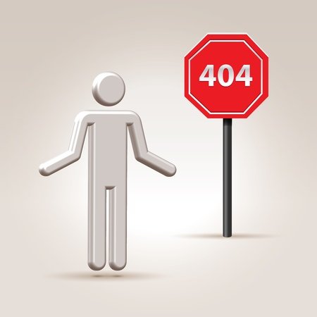 denote: Abstract person on a error 404 web page illustration