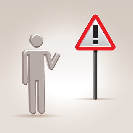 denote: Abstract person pointing on attention road sign over light background