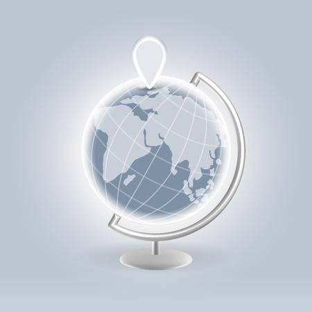 Interactive navigational pin on a globe - web navigation visual concept