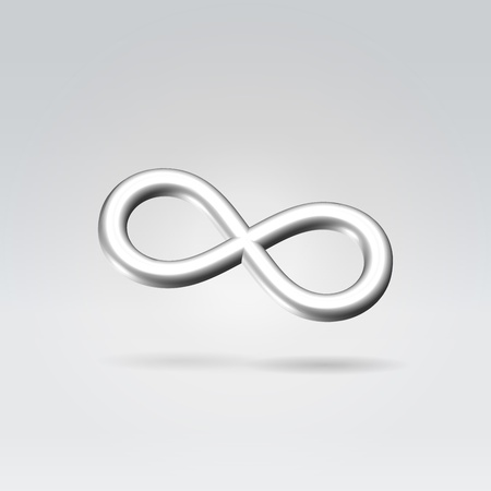 mobius symbol: Glowing silver infinity symbol 3d closeup backlit hanging in space Stock Photo