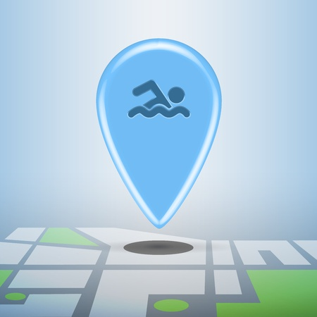 Blue navigation sports pin with pool icon on it, marking public pool on city detailed map Stock Photo