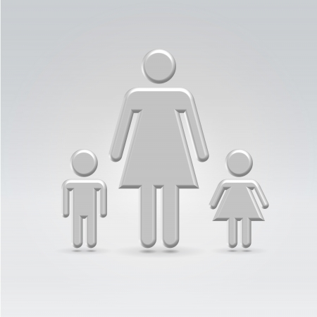 Mom and two children croup icon concept shot backlit made of metal