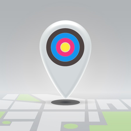targeted: Targeted white plastic pin over city block map - navigation concept Stock Photo