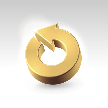 Golden shining metallic turnover icon - business abstract concept photo