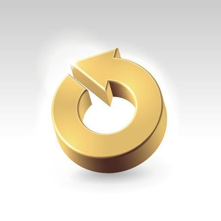 turnover: Golden shining metallic turnover icon - business abstract concept