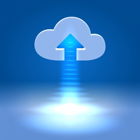 storage device: Ready to upload cloud - futuristic media  wireless technology illustration Stock Photo