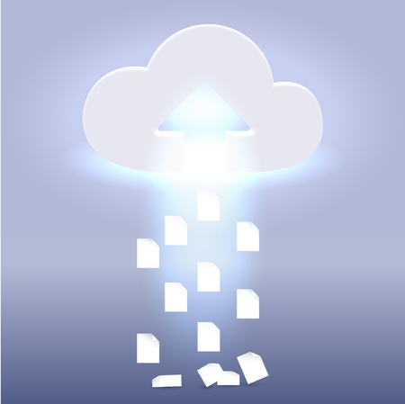 Documents are being uploaded into the cloud - futuristic media  wireless technology illustration