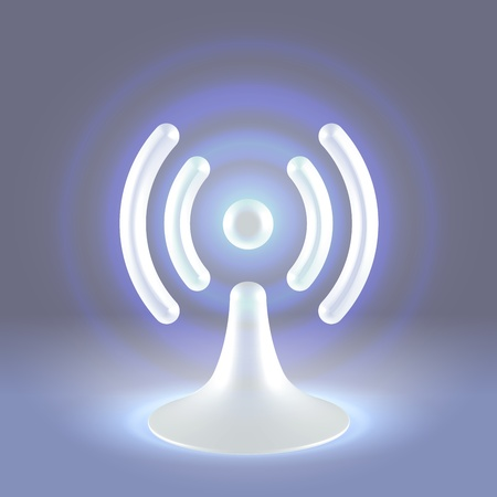 White hi tech glossy plastic wifi hot spot shining icon over gray background