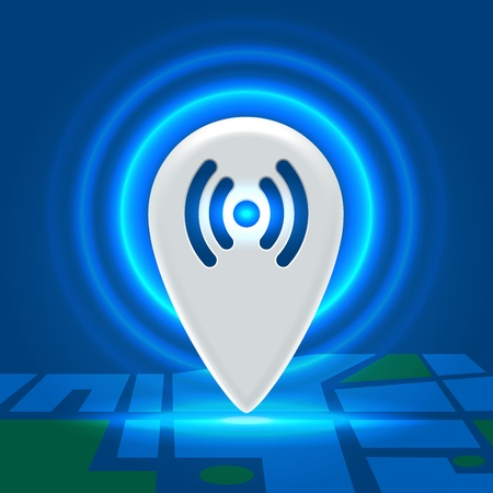 Wifi point spreading internet around over city block detailed map
