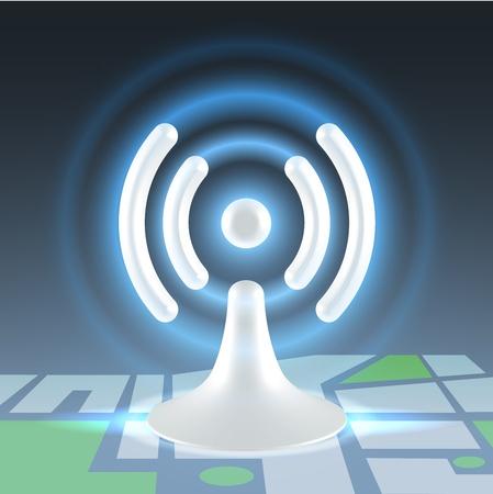 White hi tech glossy plastic wifi hot spot shining icon over block map Stock Photo