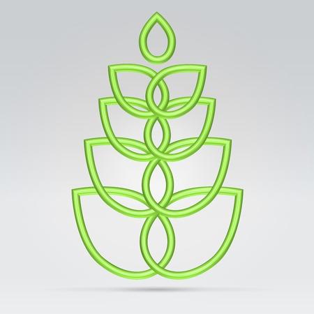 Green wire vegetation symbol hanging over light background