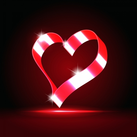 Red glowing ribbon heart over dark red background Stock Photo