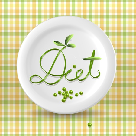 dietology: Green vegetable menu word on plate over light checkered background