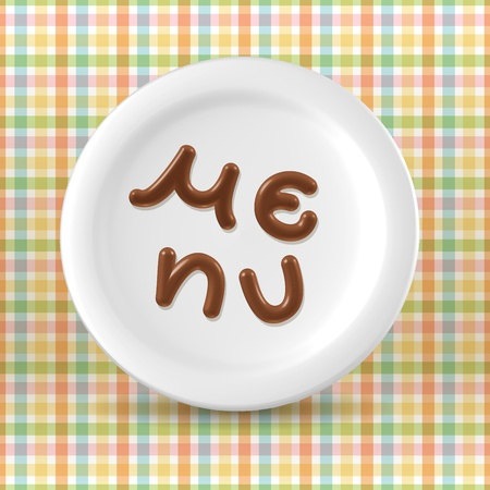 Milk chocolate menu word on plate over light checkered background