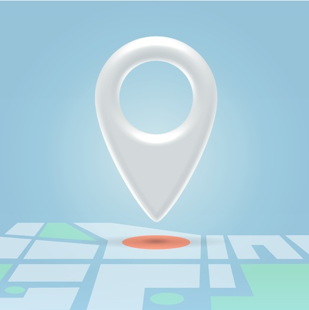 poi: Glossy white navigation point hanging in light blue space over map details