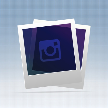 Two instant blanks of instant photo hanging over blueprint pattern Stock Photo