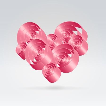 Beautiful romantic pink abstract glossy ribbon swirls pattern heart hanging over light background Stock Photo