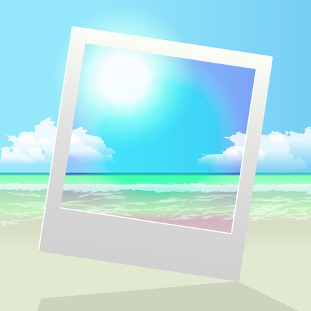 photo frame over perfect summer vacation seashore peaceful landscape