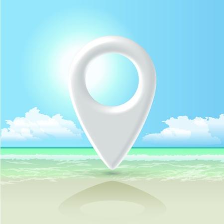 White futuristic glossy Navigation pin hanging over paradise sea shore landscape Stock Photo