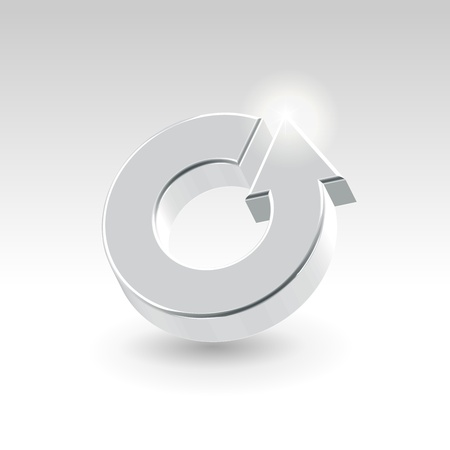 turnaround: Silver shining metallic turnover icon - business abstract concept
