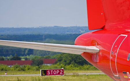 rear end: Rear end  tail of a plane Stock Photo