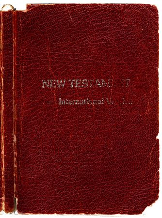 abrasion: Old Rugged leather Bible book cover- New Testament with Spine. Hi-res scanned & optimised.
