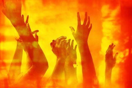 infierno: �Excepto nosotros del fuego! Concepto para la v�ctima del fuego, la ayuda, el desamparo, el infierno, la desesperaci�n, el etc.