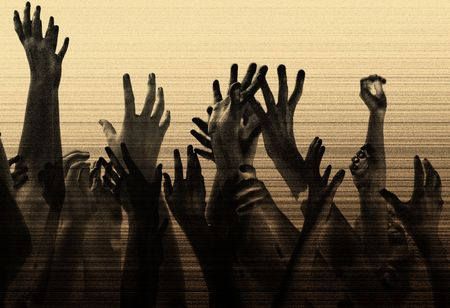 hands in the air, reaching out. metaphor concept for help, desperation, competition, party, concert, etc. Grain & texture added for effect. Stock Photo