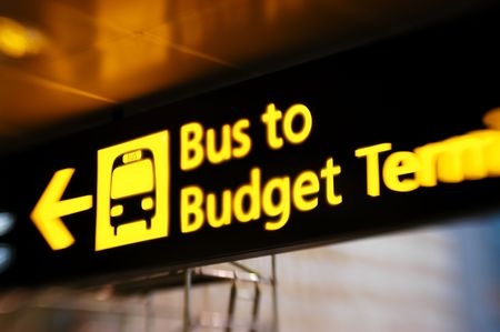 Bus sign - Airport scenes background series. Shot with a special effect  lens. Intentional selective focus & blur.