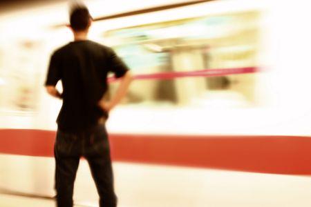 rapid: commuting in a Singapore Subway train, MRT (Mass Rapid Transit) intentional motion blur effect.