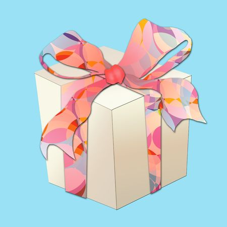 Illustrative gift box with large colorful ribbon. Artwork is done to simulate a paper-cut sticker  craft styling.