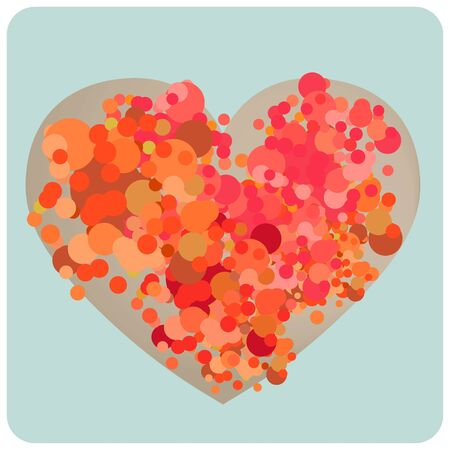 Illustration of assorted colorful circle - bubbles forming into a heart shape. Stock Photo