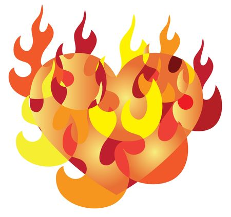 Illustration of a Flaming Heart or a Burning Love illustration