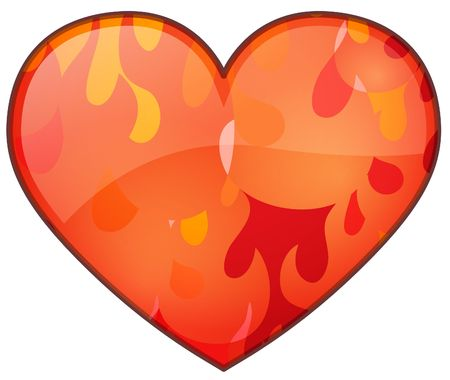Illustration of a glassy icon of a Flaming Heart