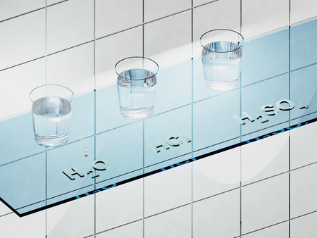 hydrochloric: A glass shelf in the laboratory with liquids H2O, HCL and H2SO4 Stock Photo