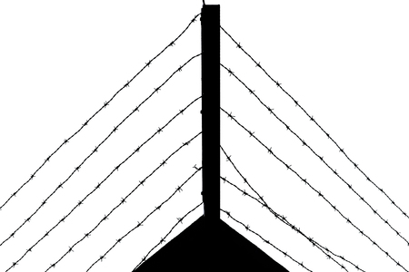 Silhouette of several layers of barbed wire on a prison wall Stock Photo