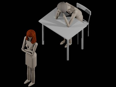 A woman turns her back on the man because she wants to separate (3D rendering with wooden dolls)