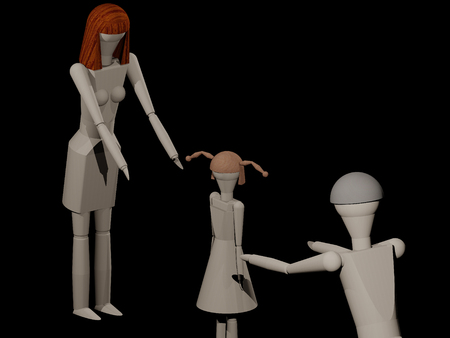 Parents can not share the common child in a separation (3D rendering with wooden dolls) Stock Photo