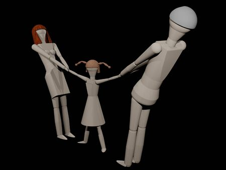 abandonment: Parents can not share the common child in a separation (3D rendering with wooden dolls) Stock Photo