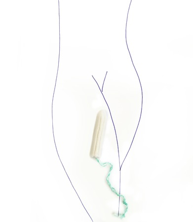 Sketch of a womans torso with a tampon