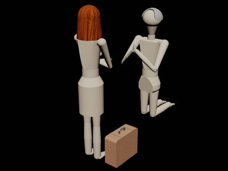 Man kneeling giving his wife not to leave him (3D rendering with wooden dolls) Banco de Imagens